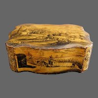 Belgium Spa Box Grisaille Painted Grand Tour 18th Century Bois de Spa Ware