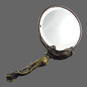 "Art Nouveau Bronze Hand Mirror "" Reflection"""