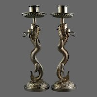 Chinese Export Silver Dragon Candlesticks Hung Chong