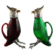 Pair Parrot Spanish Sterling Glass Cruet Set BIRKS