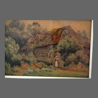 19th Century British Watercolour English Cottage Herbert George