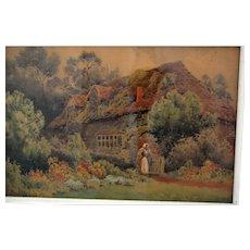 19th Century British Watercolour English Cottage Herbert George