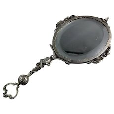 European Silver Hand Mirror Rococo Style Figural Snake
