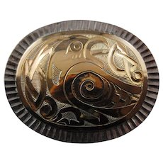 Northwest Coast Gold Silver Brooch 14 KT Eagle  LKM  Len McGookin