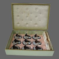 Lucite Celluloid Place Card Holders of Seal Balancing Ball in Original Box