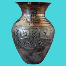 South American Silver Vase Inca Design Colombia Signed ATN