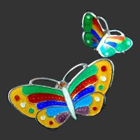 Pair Sterling Silver Enamel Butterfly Brooch Brooches Hallmarked