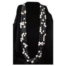 Massive 5 Strand Baroque Pearl Black Glass Necklace