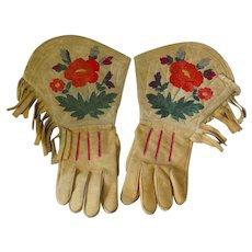 First Nations Silk Embroidered Gauntlets Gloves w/ Fringe