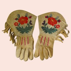 First Nations Silk Embroidered Gauntlets Gloves w/ Fringe