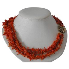 Artisan Multi Strand Natural Coral Vintage Necklace