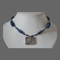 Artisan Lapis Lazuli Nepal Silver Reliquary Prayer Box Necklace