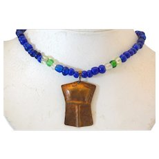 Artisan Northwest Coast Copper Glass Blue Bead Necklace