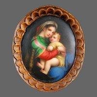 Miniature Painting on Porcelain La Madonna Della Sedia After Raphael