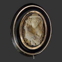 Victorian Lava Cameo Black Enamel Gold Brooch