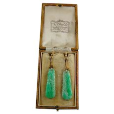 Green Jade Jadeite Chinese Carved Earrings T & L Perry Ltd London
