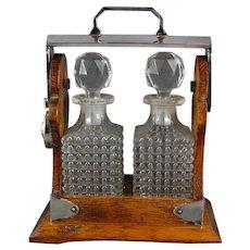 Miniature Tantalus Perfume Decanters Falstaff England Oak Cabinet