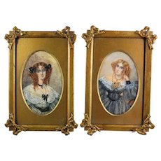Pair Watercolor Paintings Portraits Ladies in Lace 19th C. American