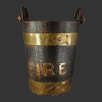 19th C. Fire Bucket Swab Oak Brass Ships Pail