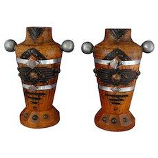 J. Perard Arts and Crafts Era Wood Metal Vases French/American