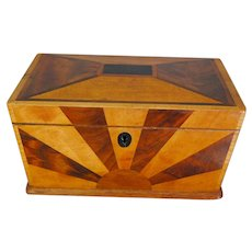 Victorian Tea Caddy Marquetry Exotic Wood