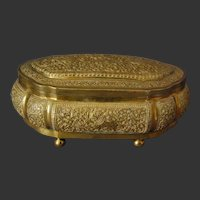 Sri Lanka Kandyan Arts Association Jewellery Casket Box Brass Hallmarked