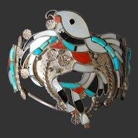 Zuni Native American Indian Silver Gem Bracelet Vintage