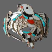 Zuni Pueblo Eagle Dancer Silver Gem Inlay Bracelet Vintage