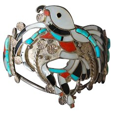 Zuni Pueblo Eagle Dancer Silver Gem Inlay Bracelet Vintage