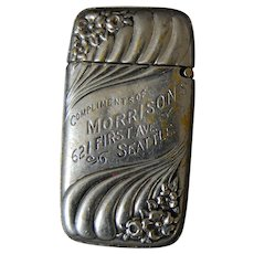 19th C Seattle Advertising Match Safe Vesta Case Morrison's.