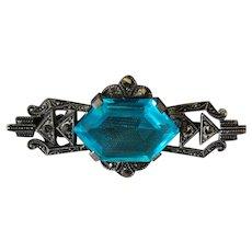 Art Deco Marcasite Silver Brooch Blue Stone