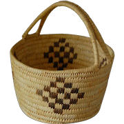 Papago Indigenous Tribe Basket Coil Double Handles