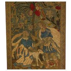19th C. Needlework Wool Silk Tapestry Petite Point Sampler