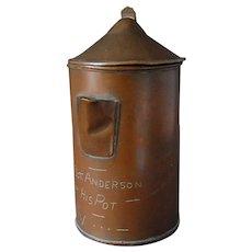 Trench Art WWI Copper Coffee Pot Sgt Anderson Morse Code
