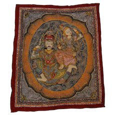 LARGE Vintage Textile Thailand Kalaga Embroidery Tapestry Sequins Dancers