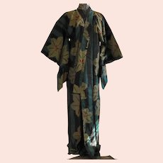 Bold Ikat Silk Woven Japanese Kimono Robe