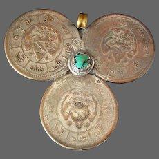 Tibetan Coin Amulet Pendant Turquoise Stone