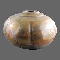 American Potter Tony Evans Raku Pottery Vase Melon Shaped
