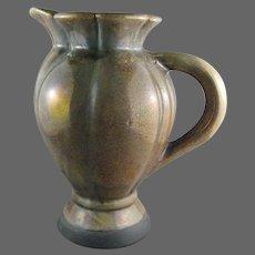 American Potter Tony Evans Raku Pottery Handled JUG, Pitcher, Ewer, Vase