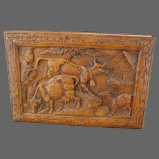 Black Forest Wood Carved Book Flower Press of Milking Cows