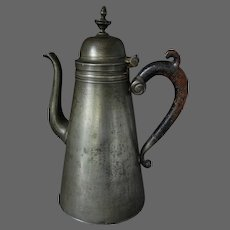 LARGE Mid 19th C. Pewter Coffee Pot Hallmarked Belgium