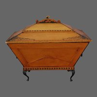 American Wood Jewelry Chest Casket Metal Mounts Silk Lined