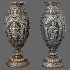 Silver Overlay Ornate Pair Vases India Tanjore Deities