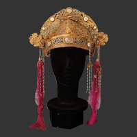 Chinese Antique Gold Headdress Crown Opera Theater Paper Mache Mirrors