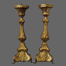 PAIR 19th Century French Canadian Brass Church Altar Candlesticks