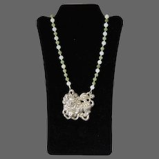 Chinese Imperial Guardian Lion Pendant Jade Agate Beads Necklace