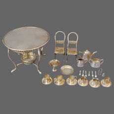 Silver Plated Collection of Miniature Doll House  Coffee Pot , Cups & Saucers, Table & Chairs