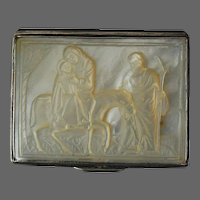 18th C. Mother of Pearl Silver Snuff Box Carved Mother Mary and Child