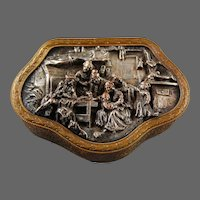 French Bronze Trinket Jewellery Box Real Bronze Silver