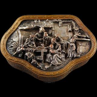 French Bronze Trinket Jewellery Box Real Bronze Silver